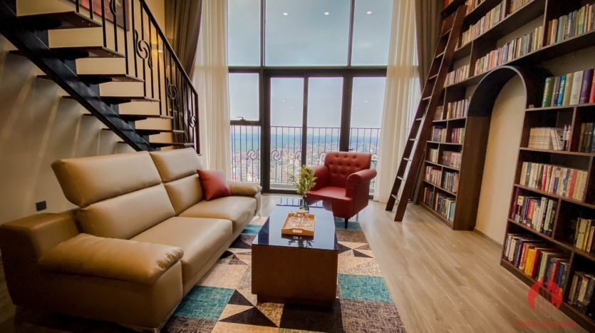 Parisian loft apartment with huge bookshelf for lease in Tay Ho 10 835x467 1