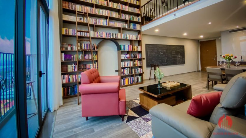 Parisian loft apartment with huge bookshelf for lease in Tay Ho 2 835x467 1