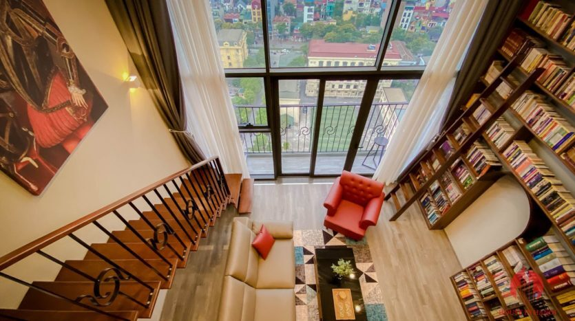Parisian loft apartment with huge bookshelf for lease in Tay Ho 3 835x467 1