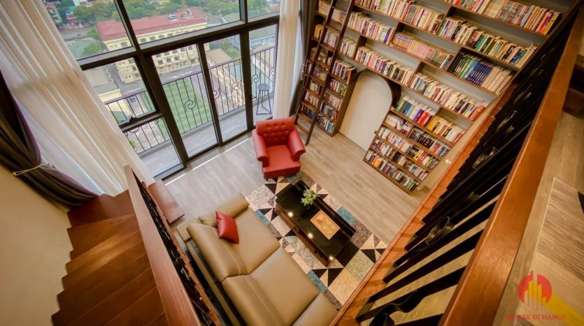 Parisian loft apartment with huge bookshelf for lease in Tay Ho 4 835x467 1