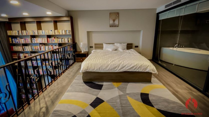 Parisian loft apartment with huge bookshelf for lease in Tay Ho 6 835x467 1